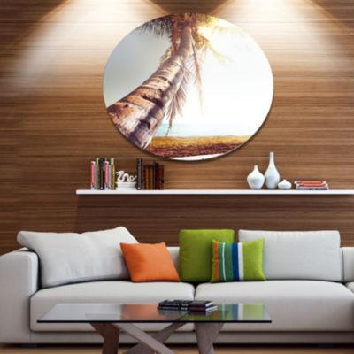 Design Art Huge Bent Coconut Tree To Beach Landscape Wall Art on Metal Wall