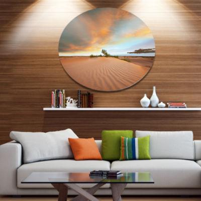 Design Art Green Plants in Wide Desert African Landscape Metal Circle Wall Art