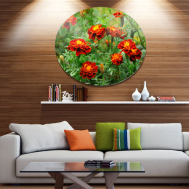 Design Art Blooming Red Marigold Flowers Disc Floral Circle Metal Wall Decor