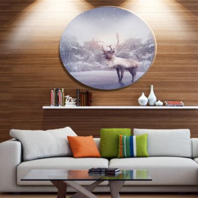 Design Art Huge Reindeer Standing in Snow Animal Metal Circle Wall Art