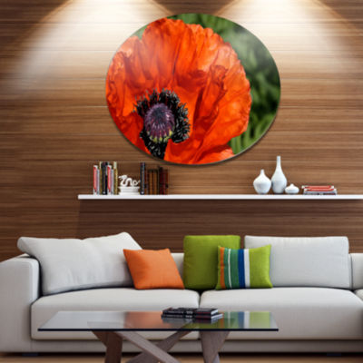 Design Art Close Up View of Red Poppy Flower Floral Metal Circle Wall Art