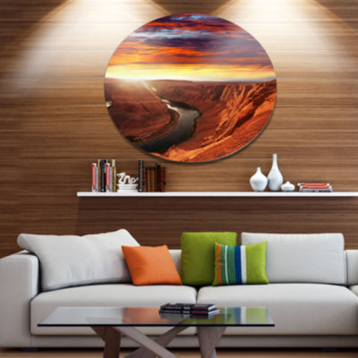 Design Art Horse Shoe Bend under Sunset Sky ExtraLarge Landscape Metal Circle Wall Art