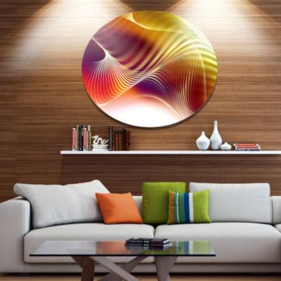 Design Art Yellow Abstract Warm Fractal Design Abstract Metal Circle Wall Art