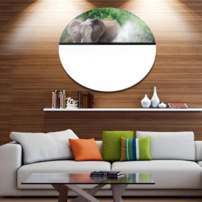 Design Art Elephant Spraying Water African Metal Circle Wall Art