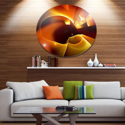 Design Art Warm Yellow Red Fractal Design Large Abstract Metal Circle Wall Art