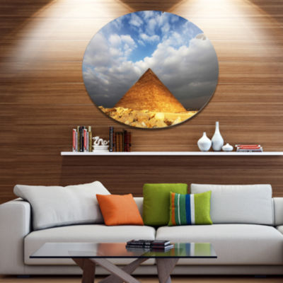 Design Art Egyptian Pyramid under Bright Sky Oversized African Landscape Metal Circle Wall Art