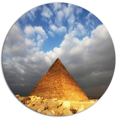 Design Art Egyptian Pyramid under Bright Sky Oversized African Landscape Metal Circle Wall Art
