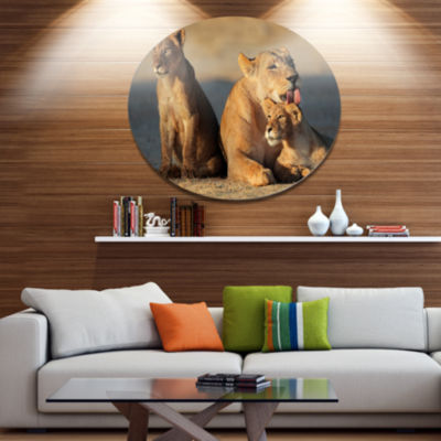 Design Art Lioness with Cubs Taking Relax AfricanMetal Circle Wall Art