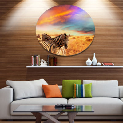 Design Art Zebras in Bush under Colorful Sky African Metal Circle Wall Art