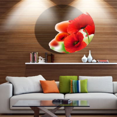 Design Art Fantastic Poppy Flowers on White FloralMetal Circle Wall Art