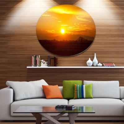 Design Art Bright Yellow Sunset in Sri Lanka ExtraLarge Landscape Metal Circle Wall Art