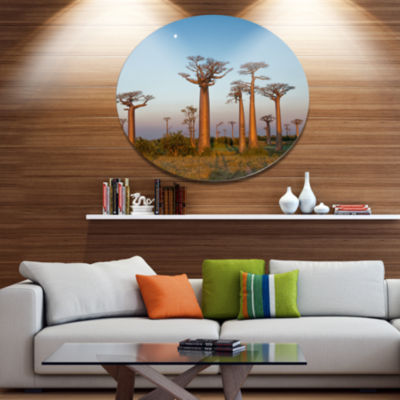 Design Art Field of Boababs under Clam Sky Oversized African Landscape Metal Circle Wall Art
