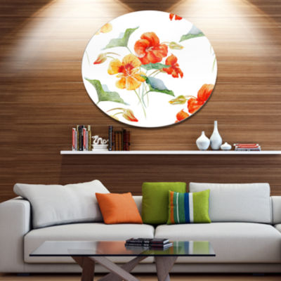 Design Art Watercolor Nasturtium Flower Pattern Disc Floral Circle Metal Wall Decor
