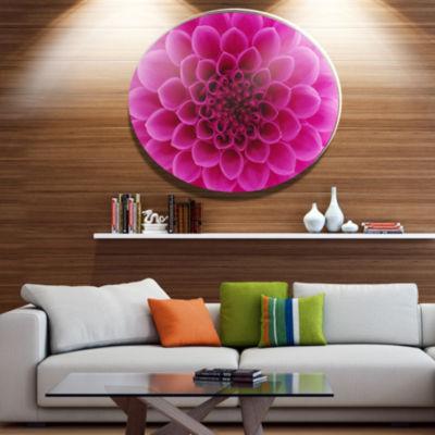 Design Art Dark Pink Abstract Flower Petals Disc Floral Circle Metal Wall Decor