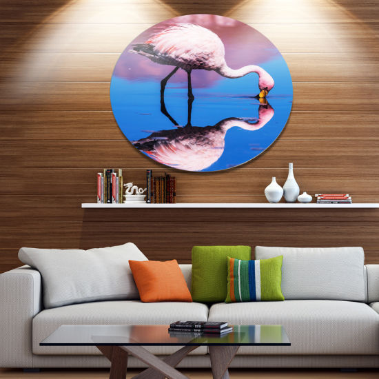 Design Art Beautiful Food Seeking Flamingo Extra Large African Metal Circle Wall Art