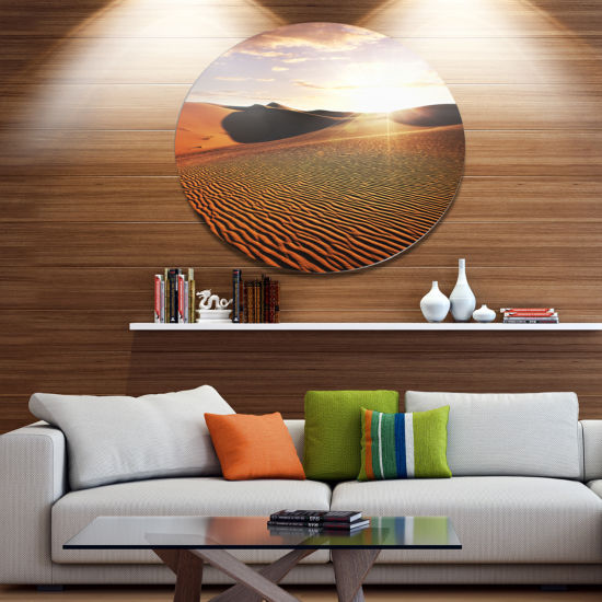 Design Art Sahara Desert At Sunset Disc LandscapeCircle Metal Wall Decor