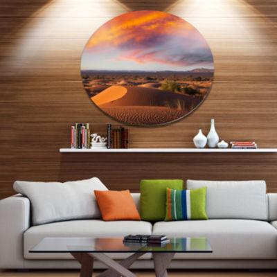 Design Art Sahara Dunes under Colorful Sky Disc Landscape Wall Art on Metal Wall