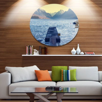 Design Art Lake in Glacier National Park Disc Large Seashore Circle Metal Wall Decor