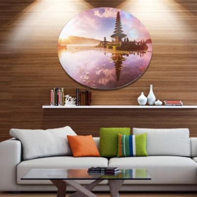 Design Art Beautiful Ulun Danu Temple Disc Oversized Landscape Circle Metal Wall Decor