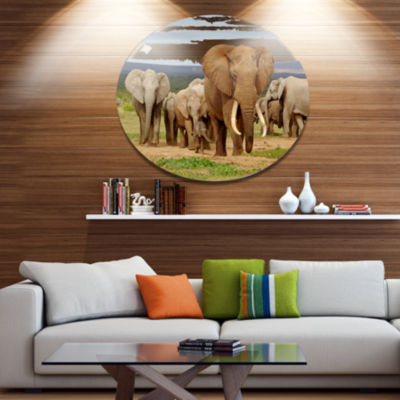 Design Art Large Elephant Herd in Africa African Metal Circle Wall Art
