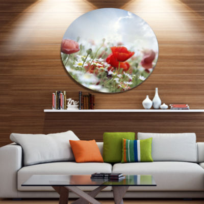 Design Art Red Poppies on Cloudy Background FloralMetal Circle Wall Art
