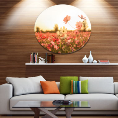 Design Art Cosmos Flowers on Sunset Background Floral Metal Circle Wall Art