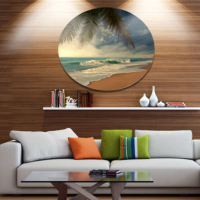 Design Art Beautiful Tropical Beach with Palms Beach Photo Metal Circle Wall Art