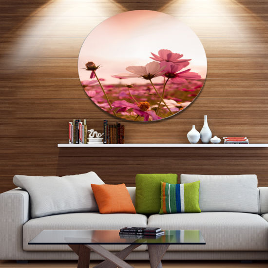 Design Art Meadow with Beautiful Cosmos Flowers Floral Metal Circle Wall Art