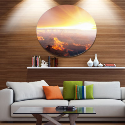 Design Art Grand Canyon with Bright Sunset Oversized Landscape Metal Circle Wall Art