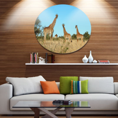 Design Art Giraffe Family in Africa African MetalCircle Wall Art