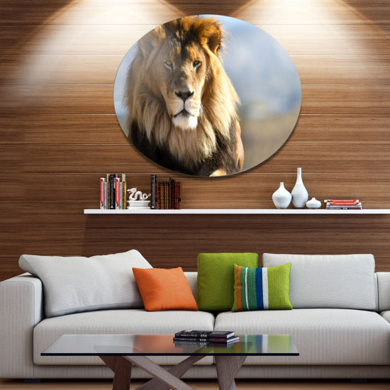 Design Art Fierce Face of King of the Wild AfricanMetal Circle Wall Art