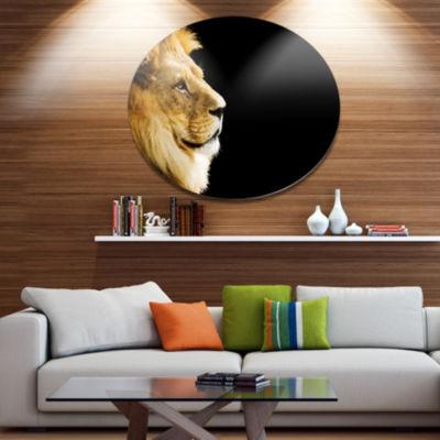 Design Art Large Lion Portrait on Black African Metal Circle Wall Art