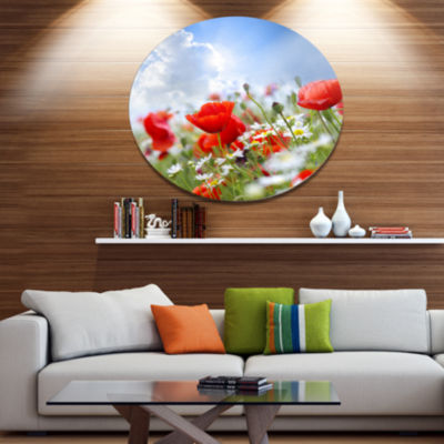 Design Art Lovely Red Poppies on Sky Background Floral Metal Circle Wall Art