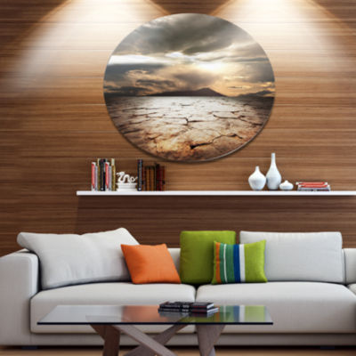 Design Art Drought Land with Cloudy Sunset Extra Large Landscape Metal Circle Wall Art