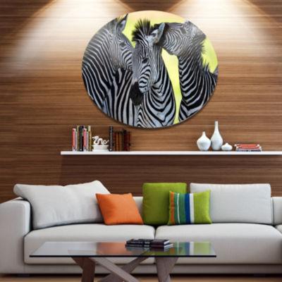 Design Art Zebras Socializing and Kissing AfricanMetal Circle Wall Art