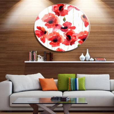 Design Art Stylized Poppy Flowers Illustration Floral Metal Circle Wall Art