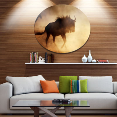 Design Art Blue Wildebeest Running in Dust AfricanMetal Circle Wall Art