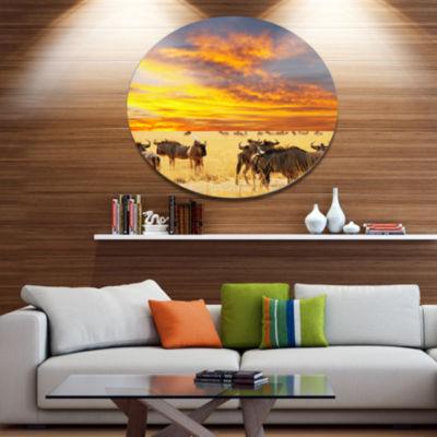 Design Art Antelope Crowd At Sunset African MetalCircle Wall Art