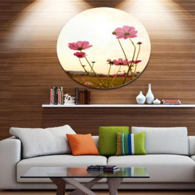 Design Art Blooming Cosmos Flower Field Floral Metal Circle Wall Art