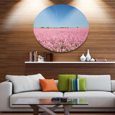 Design Art Beautiful Meadow under Blue Sky FloralMetal Circle Wall Art