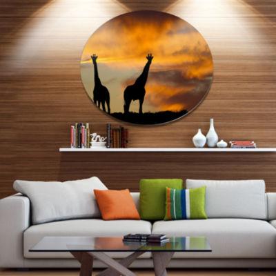 Design Art African Wildlife Silhouette African Metal Circle Wall Art