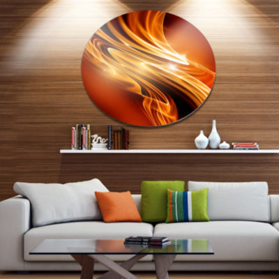 Design Art Golden Abstract Fractal Design Large Abstract Metal Circle Wall Art
