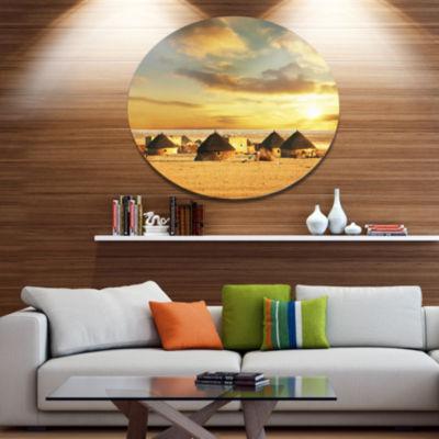 Design Art Beautiful African Village Huts AfricanLandscape Metal Circle Wall Art