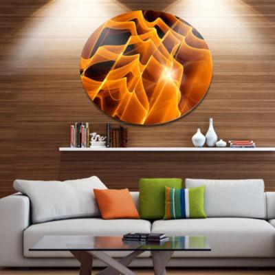 Design Art Golden Yellow Abstract Fractal Design Large Abstract Metal Circle Wall Art