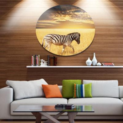 Design Art Solitary Zebra Walking in Grassland African Metal Circle Wall Art