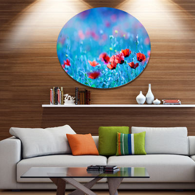Design Art Poppy Flowers Field At Night Floral Metal Circle Wall Art