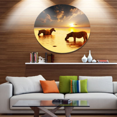 Design Art Zebras in Water At Sunset African MetalCircle Wall Art