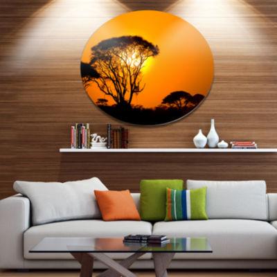Design Art Beautiful African Sunset in Savannah African Landscape Metal Circle Wall Art