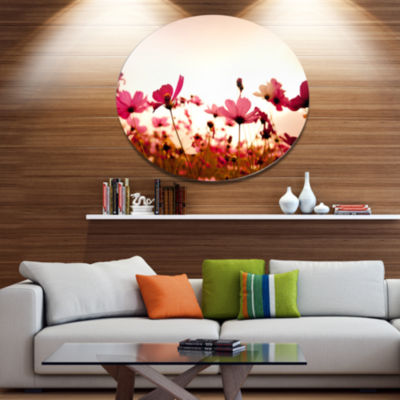 Design Art Cosmos Flowers on Pink Background Floral Metal Circle Wall Art