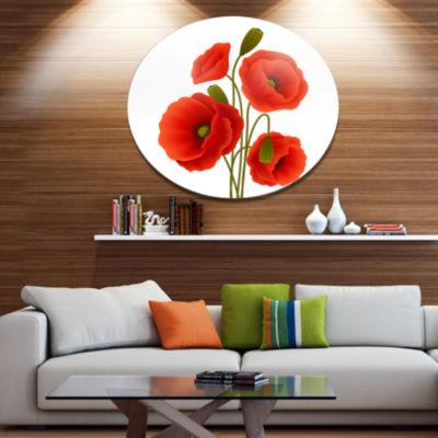Design Art Close Up View of Poppy on White FloralMetal Circle Wall Art